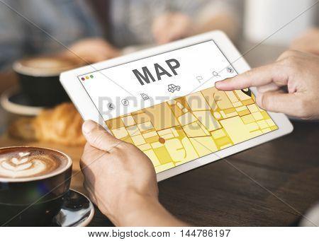 Map GPS Navigation Direction Destination Route Concept