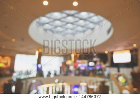 Blurred background of shopping mall interior with bokeh