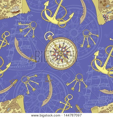 Pirate seamless background with treasure map, anchor and compass. Sea doodle illustration with vintage transportation emblems, hand drawn repeated vector drawing with marine elements, nautical pattern