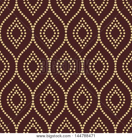 Seamless ornament. Modern geometric pattern with repeating dotted golden wavy lines