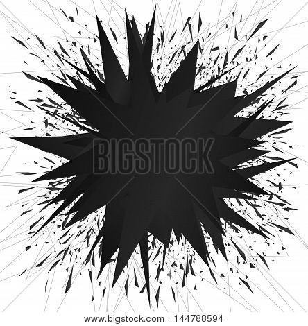 Abstract black elements explosion bang vector illustration