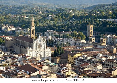 Florence aerial view with Santa Croce church, Tuscany, Italy. Unesco World Heritage Site