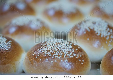 Round Loaf Of Sandwich Bun With Sesame