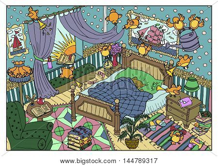 Colorful drawing with naughty birds and sleeping cute bear in the morning. Cartoon children's illustration for coloring book page.