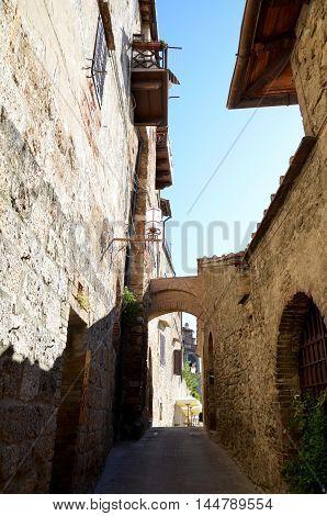 Street in San Gimignano, Italy, Tuscany. Unesco site
