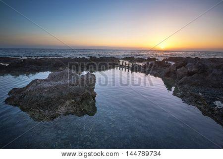 idyllic sunset at the coastline of Alcala tenerife Canary island Spain.