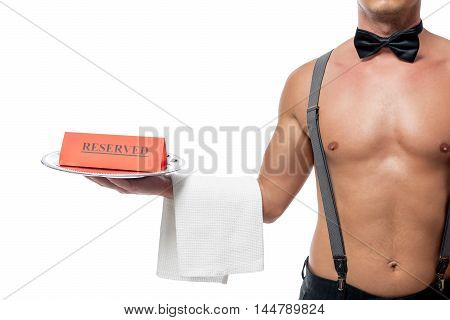 Stripper Naked Body In The Role Of A Waiter