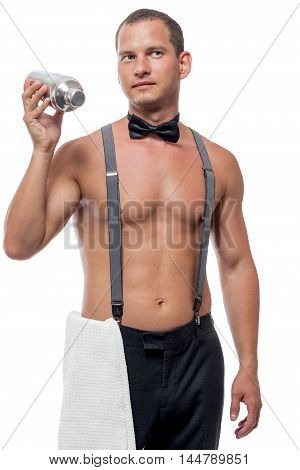 Barman With Cocktail Shaker Working Isolated On White Background
