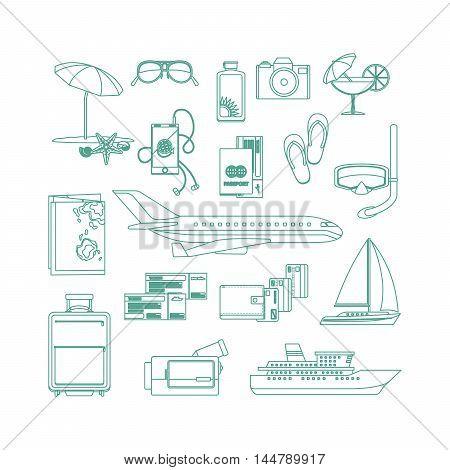 Tourism line art icon set on white backgrund. Vector illustration