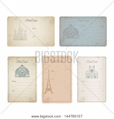 Postcard grunge vintage card collection. Vector illustration