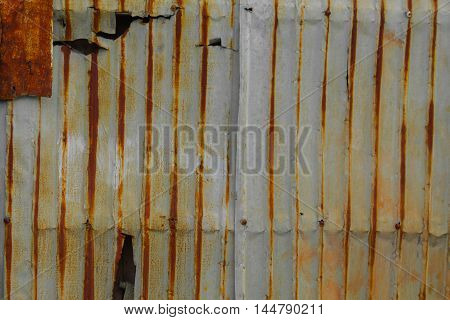 Zinc wall pattern. Rusty corrugated metal wall texture for background