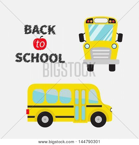 Back to school. Yellow bus set. Cartoon clipart. Transportation. collection. Side front view. Flat design Isolated White background. Vector illustration