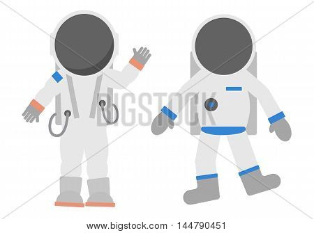 Isolated cosmonauts set on white background. Astronauts in different suits and helmets. Standing and floating. Exploring cosmos.