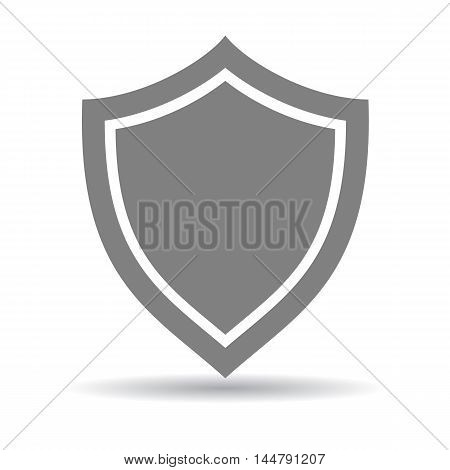 Isolated grey shield on white background. Concept of protection, safety and security. Object from medieval time.