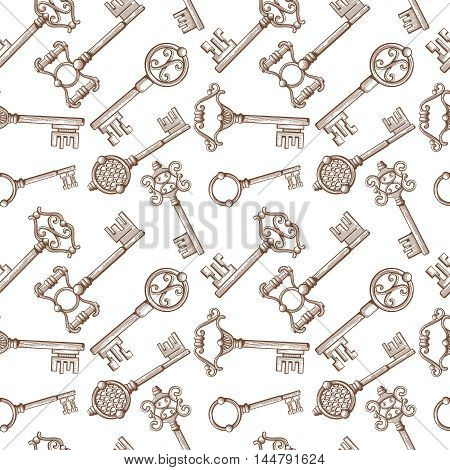 Vintage lock and key for door vector seamless pattern background. Antique and filigree metal keys illustration