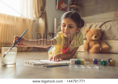 Charming Little Girl At Home
