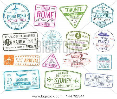 International business travel visa stamps vector arrivals sign. Set of variety rubber stamp city illustration
