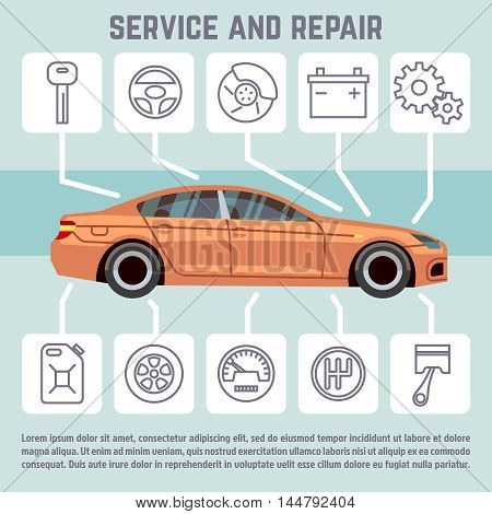 Car and car parts, service and repair line icons vector infographic template. Banner with automobile speedometer transmission, brakes and battery illustration