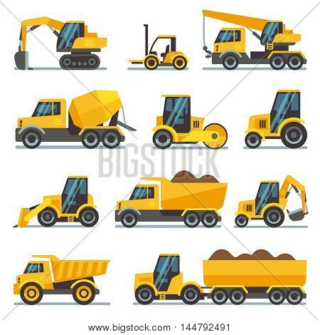 Industrial construction equipment and machinery flat vector icons excavator and tractor, bulldozer and industrial loader illustration