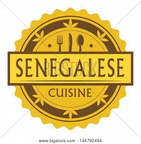 Abstract stamp or label with the text Senegalese Cuisine written inside, traditional vintage food label, with spoon, fork, knife symbols, vector illustration