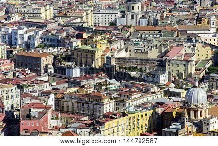 Naples city centre aerial view, Campania region, Italy