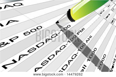 Vektor-Aktienindex-Angebotstabelle mit Bleistift