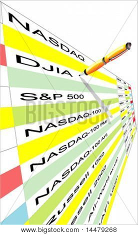 VECTOR Stock index quotation table with pencil