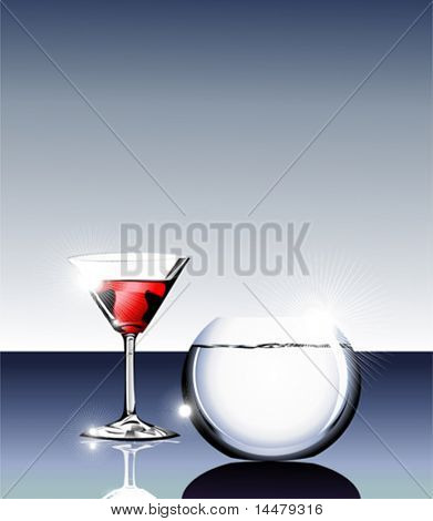 VECTOR elegant Wine glass and fishbowl on a glass table.