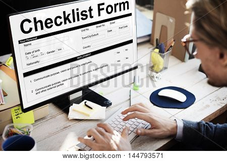 Checklist Form Document Data Information Contract Concept