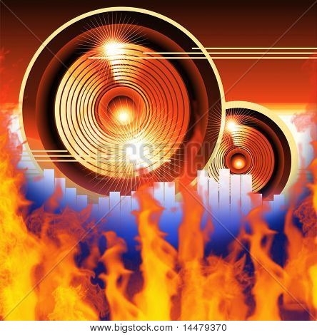 Speaker and equalizer background with Fire Flames