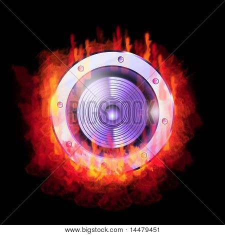 A speaker burning in the fire