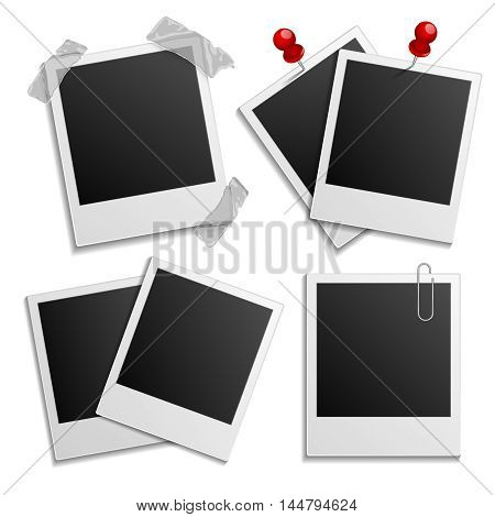 Retro holiday photo frame set isolated on white, instant images frames vector