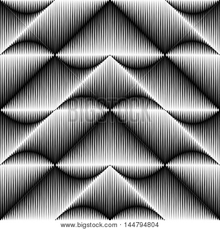 Seamless Crystal Pattern. Vector Black and White Texture. Modern Graphic Design