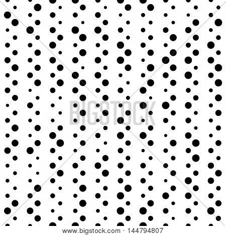 Seamless Circle Pattern. Vector Black and White Chaotic Dot Background.