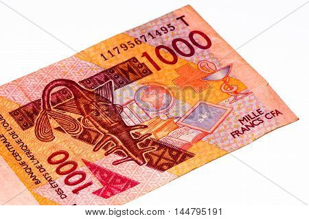 1000 CFA franc bank note. CFA franc is used in 14 African countries.