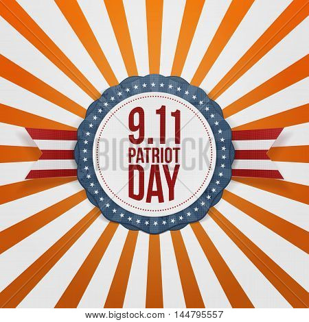 Patriot Day round Badge with Ribbon. Vector Illustration