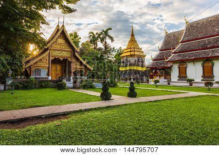 Wat Chiang Man At Sunset, Thailand