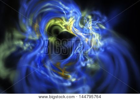 Fractal smoke. Abstract blurred blue and yellow shapes on black background. Fantasy design for posters postcards or t-shirts. Digital art. 3D rendering.