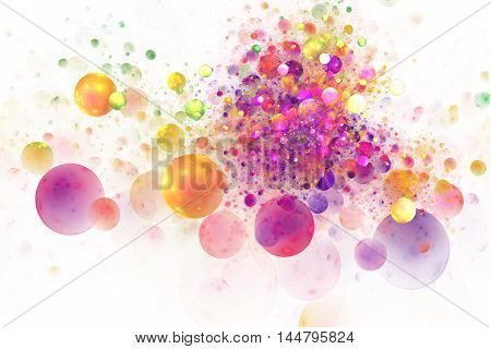 Color splash. Abstract glowing colorful yellow orange pink and purple bubbles on white background. Fantasy fractal texture for posters or t-shirts. Digital art. 3D rendering.