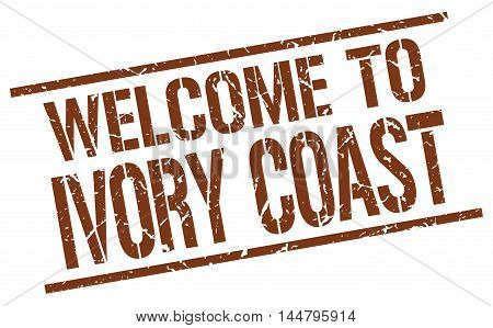 welcome to Ivory Coast. stamp. grunge square sign