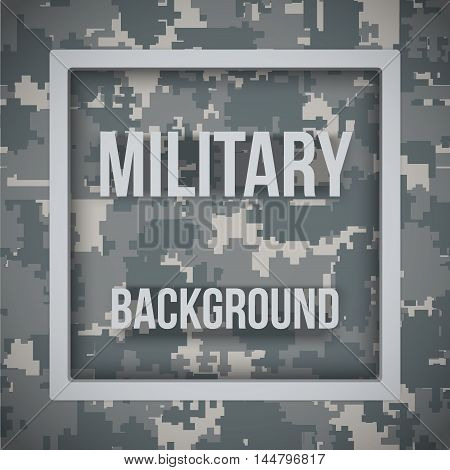 Military modern digital pixel camouflage background with tags. Army symbol of defense. Vector Illustration.