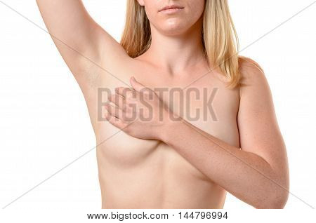 Nude Young Woman Massaging Her Breast