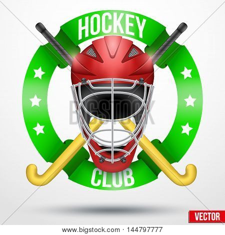 Hockey field sticks and helmet with ribbons. Sporting Symbol and mascot. Vector Illustration Isolated on white background.