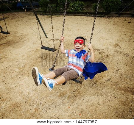 Boy Superhero Dressup Aspiration Playground Concept