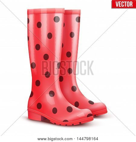 Pair of red rubber rain boots with black dots. Symbol of garden wok or autumn and weather. Vector illustration Isolated on white background.