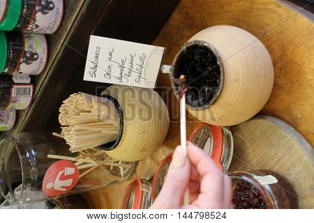 degustation of hand made onion jam  in old estonian  style