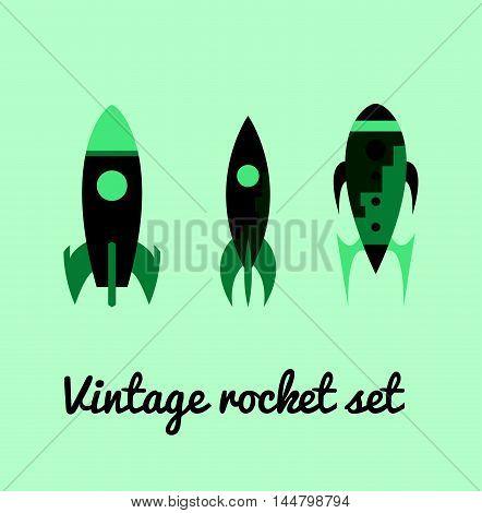 Vintage rocket space set in green colors. Vector illustration