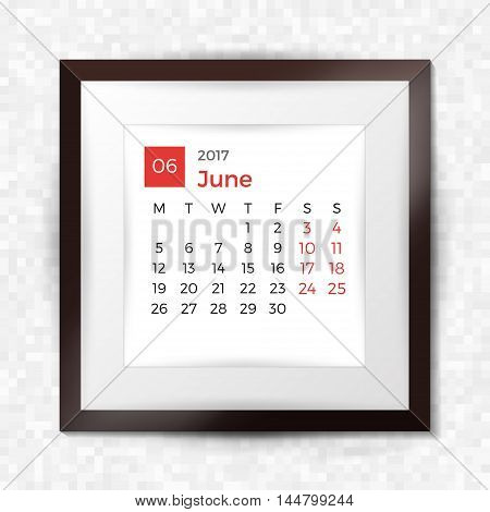 Realistic Square Picture Frame With Calendar For June 2017. Isolated On Pixel Background. Vector Ill