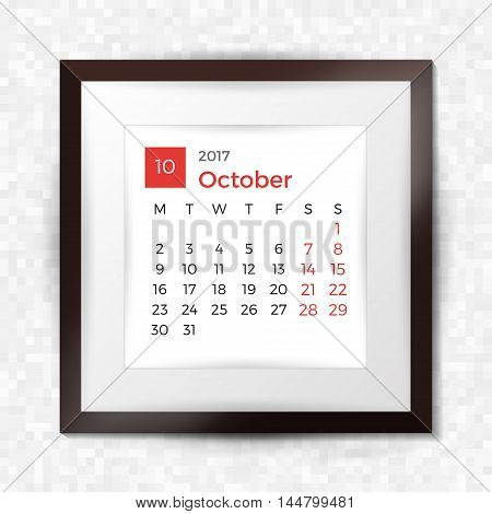 Realistic Square Picture Frame With Calendar For October 2017. Isolated On Pixel Background. Vector