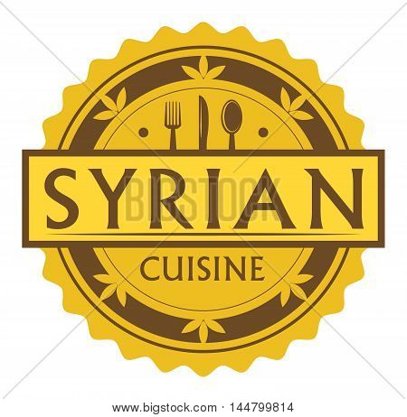 Abstract stamp or label with the text Syrian Cuisine written inside, traditional vintage food label, with spoon, fork, knife symbols, vector illustration